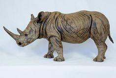Rhino sculpture, ceramic.Pippa Hill Animal Sculpture