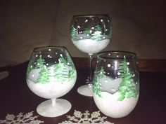Hand Painted Winter Glassware via Etsy