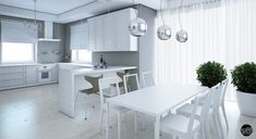 Good-Looking Apartment Living Room and Dinning Room Interior Design With White Wood Floor and Plants Idea Also White Table and Chair Simple White Furniture, Furniture Design, White Wood Floors, White Curtains, Apartment Interior Design, White Rooms, White Decor, Living Room Modern, Apartment Living