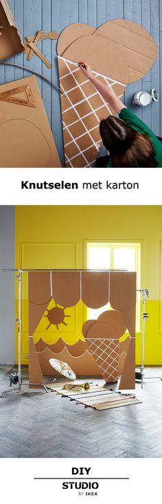 STUDIO by IKEA - Knutselen met karton | #STUDIObyIKEA #IKEA #IKEAnl #inspiratie… Cardboard Cartons, Cardboard Box Crafts, Thema Hawaii, Diy For Kids, Crafts For Kids, Summer Decoration, Elementary Art Rooms, Ikea, Design Studio