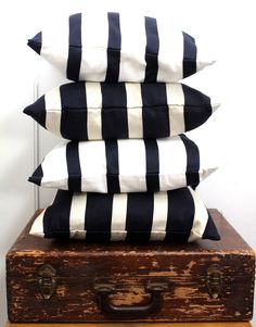 striped pillows.