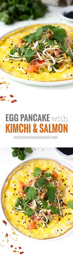Egg Pancake with Kimchi and Smoked Salmon. A thin egg omelette filled with kimchi, cold smoked salmon, sprouted mung beans and coriander! It's gluten free & paleo! Get the recipe at nutritionistmeetschef.com