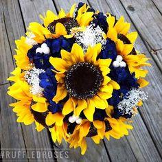 sunflowers, navy hydrangeas and babies breath