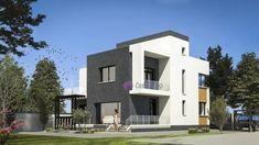 Locuință modernă cu acoperiș tip terasă circulabilă, 175mp utili   CaseDeTop.ro   #casedetop #proiectearhitectura #proiectecase #proiectcasa #vile #proiectevile #casemoderne #casamoderna Large House Plans, Large Homes, Backyard, Mansions, Single Family, House Styles, Modern, Design, Home Decor