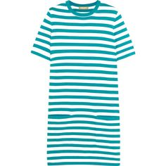 Michael Kors Collection Striped cotton-jersey mini dress ($460) ❤ liked on Polyvore featuring dresses, gown, turquoise, stripe dress, mini dress, blue dress, short blue dresses and michael kors