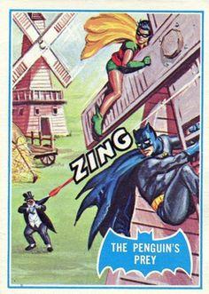 'Batman' 1966 Topps Trading Cards by Norman Saunders. 18 The Penguin's Prey Batman 1966, Batman Art, Batman And Superman, Batman Robin, Batman Stuff, Batman Comic Books, Comic Books Art, Book Art, Classic Cartoon Network Shows