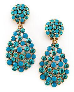 Y1E8A Oscar de la Renta Multi-Stone Teardrop Earrings, Blue