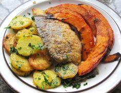 SAIBLING mit Bratkartoffeln und gebackenem Kürbis