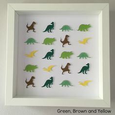 """Frame dimensions - 9""""x9"""" (23cm x 23cm)Colours – * Green, Brown and Yellow - CL5, CL8, CL22, CL23, PC4, CL9Choose this colour scheme or something in your own choice of colours for the same price. Add name or details personalisation for no extra cost. Intricate handmade dinosaur framed art. Every dinosaur is cut and raised to create a unique 3D effect.An ideal personalised gift for a child. Great for a birthday or to compliment a child's bedroom. ... Interior Decorating Tips, Benjamin Moore Paint, Green Furniture, Eco Friendly House, Kid Beds, Kids Bedroom, Framed Art, Paper Art, Personalized Gifts"""