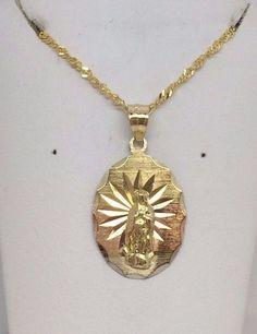 """14K Yellow Rose Gold Religious Guadalupe Medal Pendant Charm 20"""" Singapore Chain #Dazzlers #Pendant"""