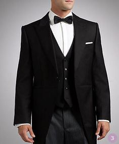 Best not to wear a black waistcoat and bow tie with a morning suit, unless you want to look like an undertaker. Colorado Wedding Venues, Inexpensive Wedding Venues, Vintage Wedding Suits, Mens Tux, Art Deco Wedding Theme, Wedding Dress Preservation, Black Waistcoat, Morning Suits, Top Wedding Photographers
