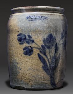 "Thomas & John Ducey - Storage Jar. Stoneware with Cobalt Decoration. Stamped ""T. & J. DUCEY / MANUFACTURER / PETERSBURG, VA."". Petersburg, Virginia. Circa 1850-1875."