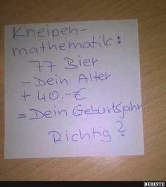 Kneipen-mathematik.. Facebook Humor, Funny Cute, Hilarious, Cool Pictures, Funny Pictures, Vanellope, Funny Picture Quotes, Statements, Funny Facts