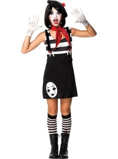 Teen Girls Mesmerizing Mime Costume - Party City