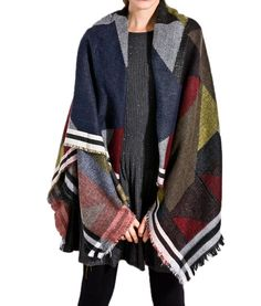 I'MQueen New Women's Plaid Open Front Wraps Sweater Cardigan Fringe Poncho Capes -- Awesome products selected by Anna Churchill