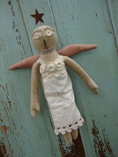 Primitive Shabby Chic Angel Doll   Agnes by tatteredmoon on Etsy, $68.00
