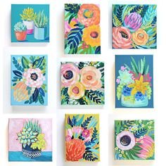 I'm hanging art in our new home today and dreaming of all the artists I still want to collect! These nine minis are still available in the shop. They're the perfect little gift for the art-lovers in your life Small Paintings, Flower Paintings, Painting Flowers, Art Paintings, Mini Canvas Art, Hanging Art, Acrylic Art, Art Floral, Painting Inspiration
