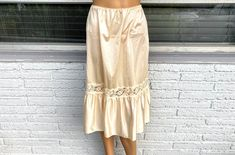 Excited to share this item from my #etsy shop: M 60s Nylon Half Slip Skirt by Opalaire Butter Cream Anton III & Lace Boho Chic 50s Lingerie 90s Punk Grunge Rock Chic Hipster Hippie