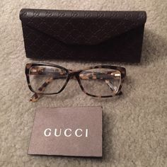 Gucci Eyeglasses These Gucci eyeglass with lens are prescription and comes with the authentic card, Gucci case, and Gucci eyeglass cloth. Once item is sold, the lens will be knocked out. SERIOUS BUYERS ONLY! Gucci Accessories Glasses