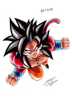 """Super Saiyan Drawn by: Young Jijii. Dragon Ball Gt, Akira, Vegeta Super Saiyan 4, Foto Do Goku, Majin Boo, Son Goku, Drawings, Illustration, Awesome Anime"