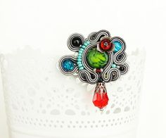 Bright multicolor soutache brooch colorful flower brooch by pUkke