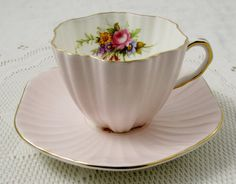 Foley Pink Tea Cup and Saucer with Flowers, Vintage Bone China
