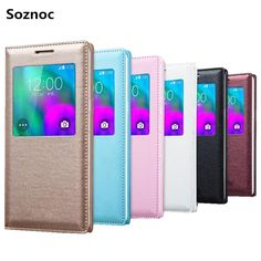 Soznoc Slim PU Leather Stand Flip Window View Phone Case Cover For Samsung Galaxy A7 A5 A3 2016 S8 S7 S6 Edge Plus A9 A8 Note5