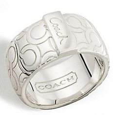 COACH sterling op art bias band ring
