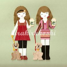 GIRL with COFFEE and Pet Puppy DOG Paper Doll by kirakirahoshi