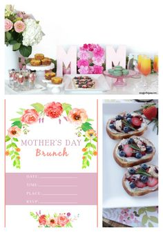 Mother's Day Brunch ideas with Free Invitation Printable. Create an inviting brunch