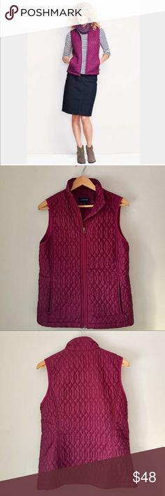 Lands' End Pink Primaloft Packable Vest Size S Gorgeous Sleek and chic cranberry primaloft Packable Land's End vest. And although incredibly light, it offers plenty of protection from the elements. It's as cozy as down (seriously!) with 100-gram PrimaLoft insulation providing the warming power. The shell is also windproof for added protection. What's more amazing is that it packs into its own pocket, so you can bring it anywhere. Discreet zippered pockets. 100% polyester. Cranberry color…