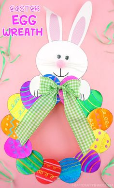 How to Make a Paper Plate Easter Egg Wreath – This colorful paper plate Easter Wreath is a simple and easy Easter Craft idea for kids of all ages to make. Cute DIY Easter decoration for home. Easter Arts And Crafts, Egg Crafts, Easter Projects, Bunny Crafts, Plate Crafts, Easter Ideas, Diy Projects, Paper Easter Crafts, Crafts For Kids To Make