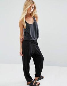 Oysho+Black+Jersey+Harem+Pant