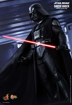 Hot Toys' Darth Vader figure with LED lightsaber and breathing FX