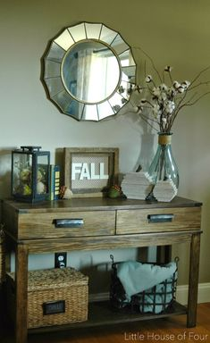 Fall entry table with DIY pallet pumpkins, acorns and a Goodwill frame turned fall decor