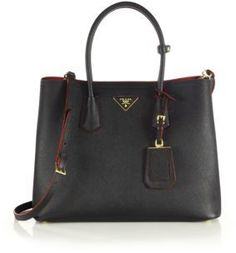 Prada Saffiano Cuir Medium Double Bag.  So great for work/school.
