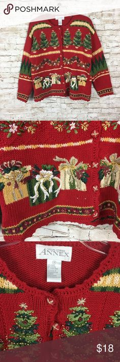 Casual Corner Annex Ugly Christmas Sweater S Casual Corner Annex Ugly Christmas Cardigan Sweater Size Small Womens Red casual corner annex Sweaters Cardigans