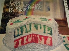 CHRISTMAS RAINBOW  JELL-O POKE CAKE..1980...we made this every Christmas for a birthday cake for Jesus when our kids were little.