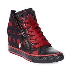 2dab23848ce6 Dkny Carmila Wedge Sneakers in Black (Red Plaid)