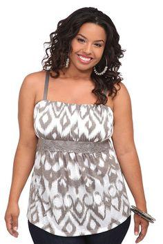 White And Grey Ikat Slub Knit Emma Cami