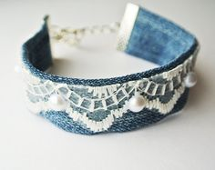 Denim cuff Boho Cuff Bracelet lace Bracelet by PrettyMarry on Etsy