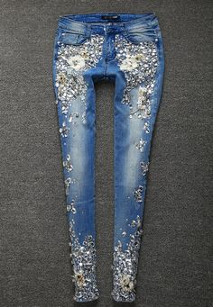 Women's Jeans Rhinestones Diamond Denim Skinny Stretch Pencil Style Slim Vintage Women's Jeans Rhinestones Diamond Denim Skinny Stretch Pencil Style Slim Vintage - Women's Fashion Ripped Jeggings, Ripped Skinny Jeans, Cute Jeans, Denim Jeans, Denim Shirts, Raw Denim, Denim Fashion, Fashion Outfits, Curvy Fashion