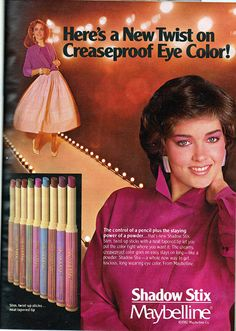 Maybelline Shadow Stix Is this still around! 1980s Makeup, Vintage Makeup Ads, Retro Makeup, Old Makeup, Vintage Beauty, Vintage Ads, Retro Advertising, Retro Ads, Vintage Advertisements