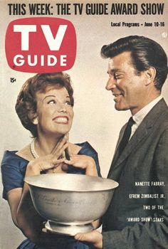 """TV Guide: June 10, 1961 - Nanette Fabray and Efrem Zimbalist Jr., Two of the """"Award Show Stars"""""""