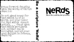 """""""Be a Scripture Nerd"""" nerds handout for primary manual 7 lesson 23"""