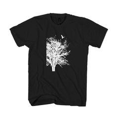 Tree Bird Nature Graphic Man's T-Shirt Bird Tree, Mens Tees, Nature, T Shirt, Tops, Supreme T Shirt, Naturaleza, Tee Shirt, Nature Illustration