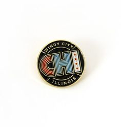 Chicago Enamel Pin with CHI and Chicago Flag
