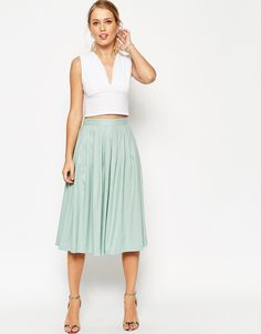 Image 1 of ASOS Pleated Midi Linen Skirt