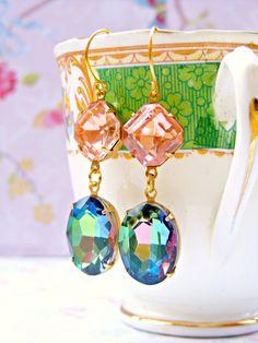AB Crystal Earrings Green Peach Vintage Repurpose by Sweetystuff, £19.00