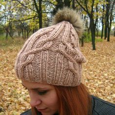 """Wome's winter hat """"Flocart"""" beige Stylish and original hat. Handmade, seamlessy knitted, blue with a bubo of natural dyed fur. Knitted Hats, Roman, Winter Hats, Fur, Beige, The Originals, Knitting, Stylish, Natural"""